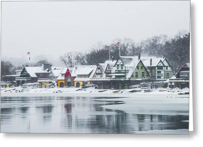 Philadelphia Winter - Boathouse Row Greeting Card