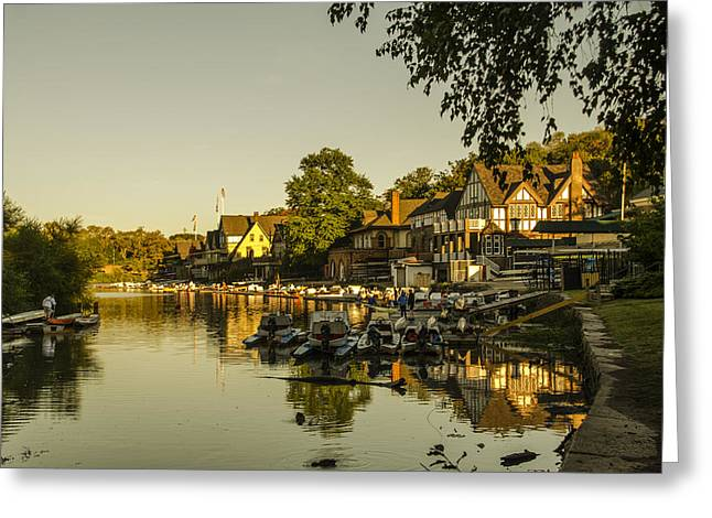 Philadelphia's Boathouse Row - The Golden Hour Greeting Card by Bill Cannon