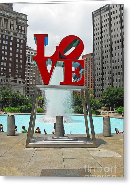 Philadelphia's Love Park Greeting Card by Cindy Manero