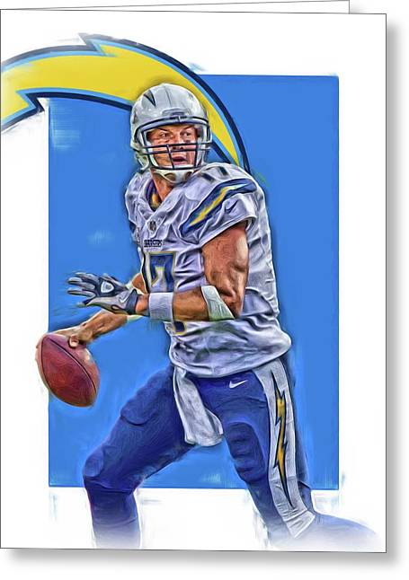 Philip Rivers San Diego Chargers Oil Art Greeting Card
