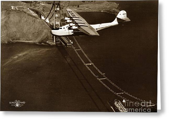 Philippine Clipper A Pan Am Clipper Over The Golden Gate Bridge  1935 Greeting Card