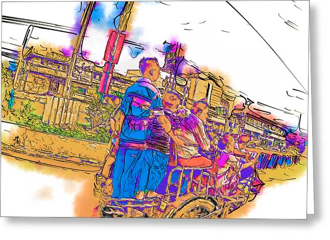 Philippine Family Tricycle Greeting Card by Rolf Bertram