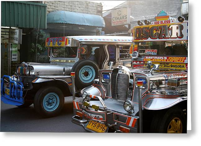 Philippine Jeepneys.  Greeting Card by Christopher Rowlands