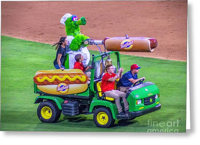 Phillie Phanatic Hot Dog Shooter Greeting Card by Nick Zelinsky