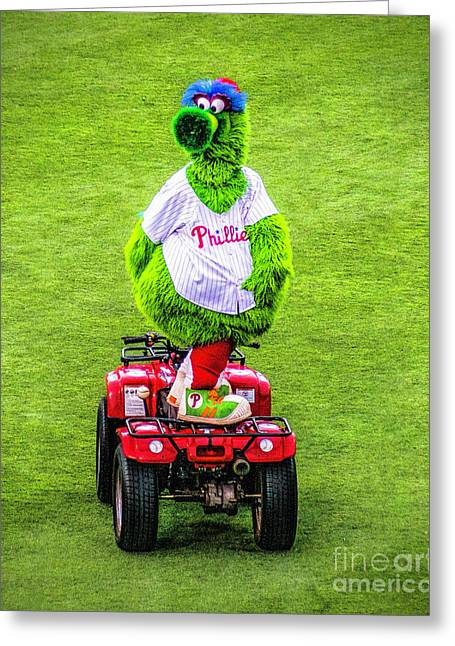 Phillie Phanatic Scooter Greeting Card by Nick Zelinsky