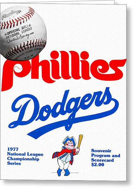 Phillies Versus Dodgers 1977 Scorecard Greeting Card by John Farr