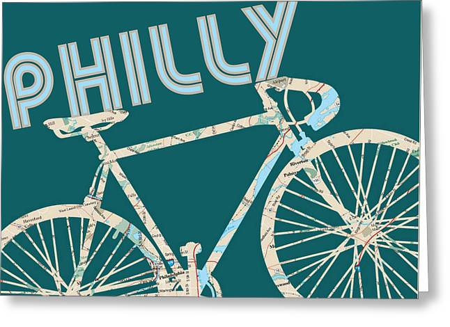 Philly Bicycle Map Greeting Card by Brandi Fitzgerald