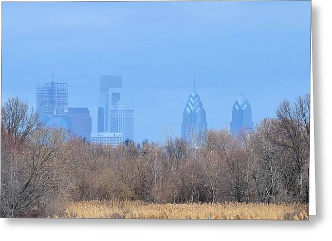 Philly From Afar Greeting Card by Kathy Eickenberg