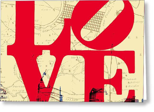 Philly Love V3 Greeting Card by Brandi Fitzgerald