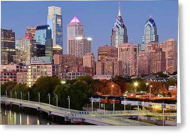 Philly Panoramic Greeting Card by Frozen in Time Fine Art Photography