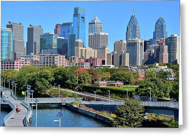 Philly With Walking Trail Greeting Card