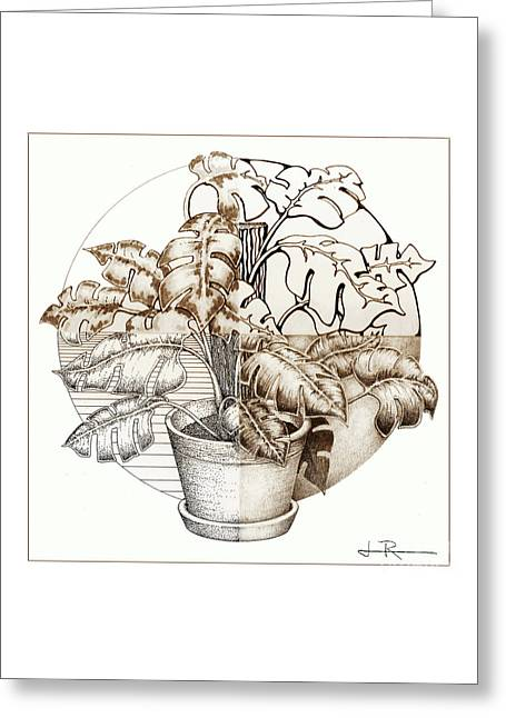 Philodendron 4 Greeting Card by Jim Rehlin