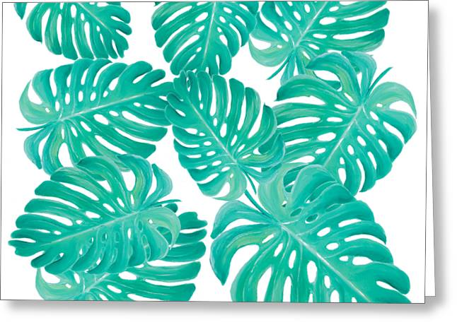 Philodendron Leaves Greeting Card by Jan Matson