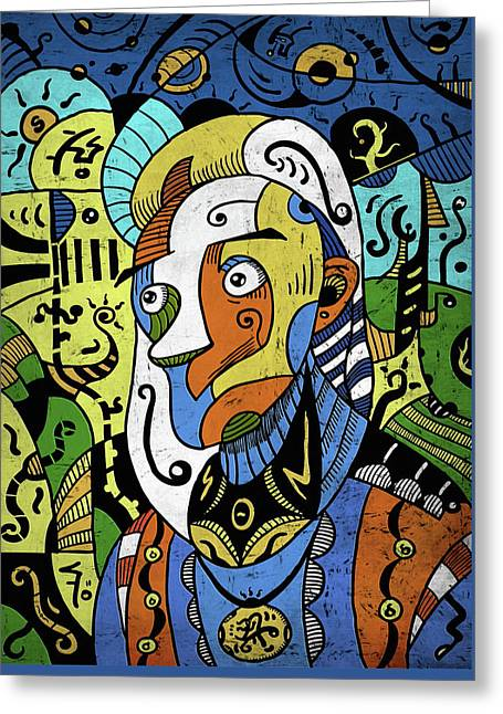 Greeting Card featuring the digital art Philosopher by Sotuland Art