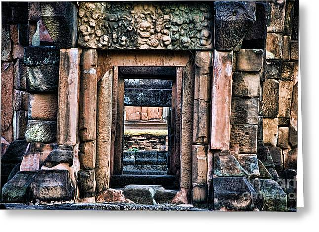 Phimai Khmer Doorway Greeting Card by Ray Laskowitz - Printscapes