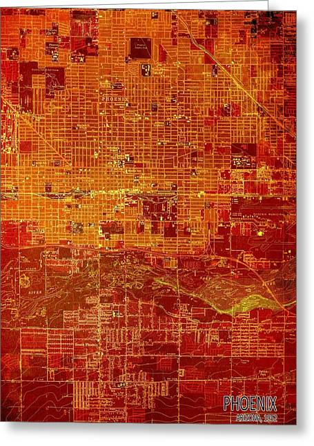 Phoenix Arizona 1952 Red And Orange Old Map Greeting Card by Pablo Franchi