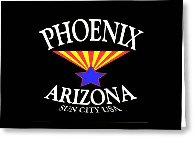 Phoenix Arizona Tshirt Design Greeting Card by Art America Gallery Peter Potter