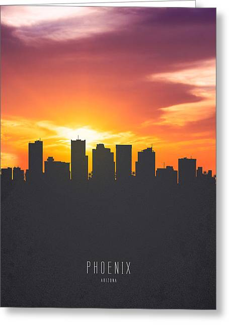 Phoenix Arizona Sunset Skyline 01 Greeting Card by Aged Pixel
