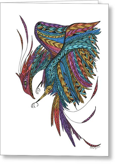 Greeting Card featuring the drawing Phoenix Landing by Barbara McConoughey