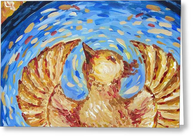 Greeting Card featuring the painting Phoenix by Maria Langgle