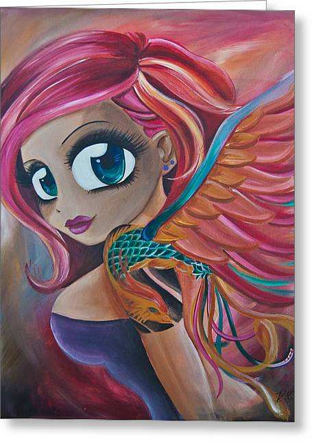 Phoenix Reborn Greeting Card by Zara  Spence