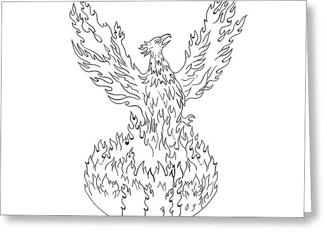 Phoenix Rising Fiery Flames Black And White Drawing Greeting Card by Aloysius Patrimonio