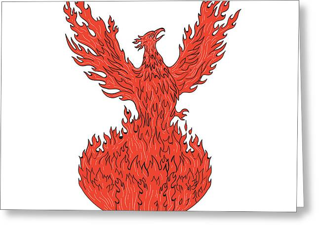 Phoenix Rising Fiery Flames Drawing Greeting Card by Aloysius Patrimonio