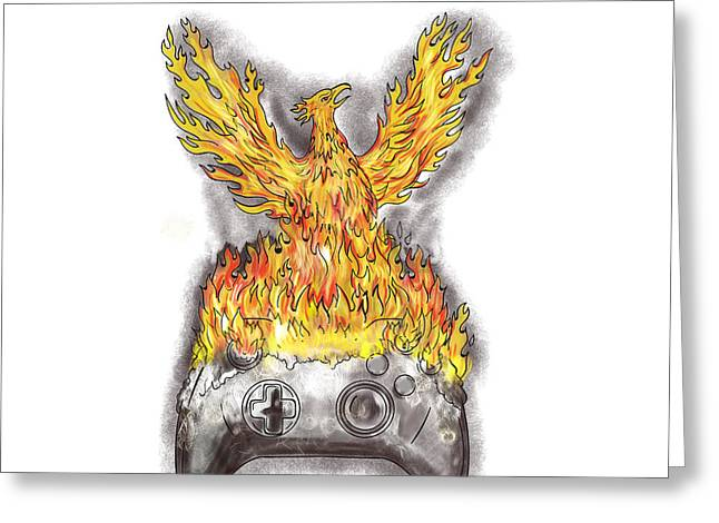 Phoenix Rising Over Burning Game Controller Tattoo Greeting Card by Aloysius Patrimonio