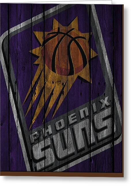 Phoenix Suns Wood Fence Greeting Card