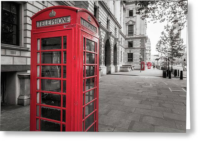 Phone Booths In London Greeting Card