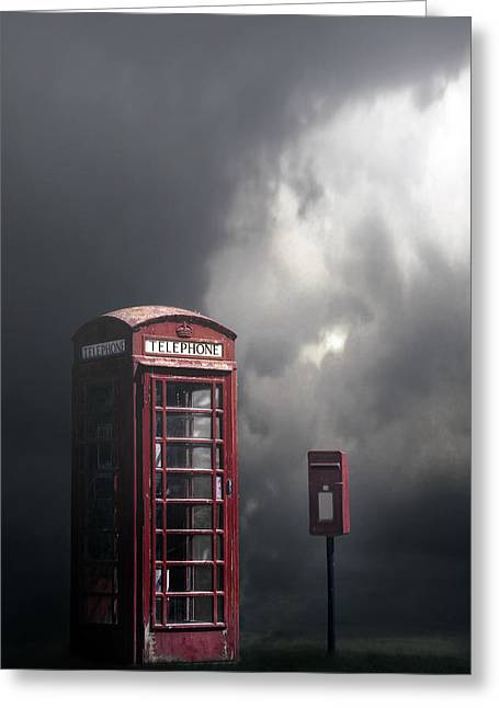 Phone Box With Letter Box Greeting Card by Joana Kruse