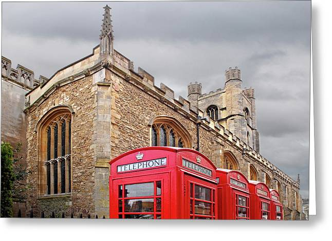 Phone Home - Gt St Marys Church Cambridge Greeting Card by Gill Billington