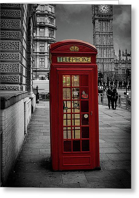 Phonebox Greeting Card by Martin Newman