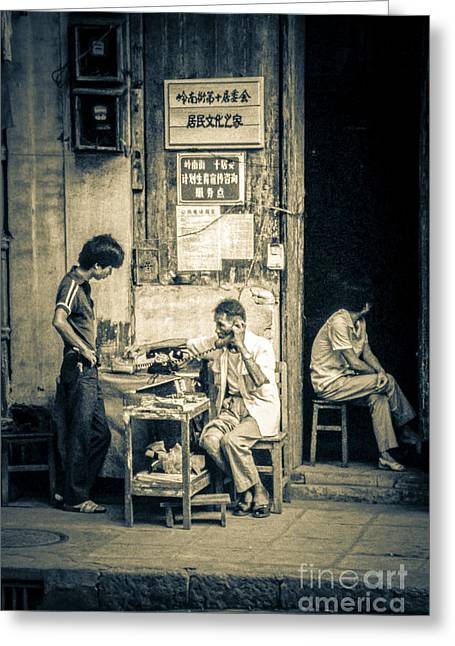 Greeting Card featuring the photograph Phonecall On Chinese Street by Heiko Koehrer-Wagner
