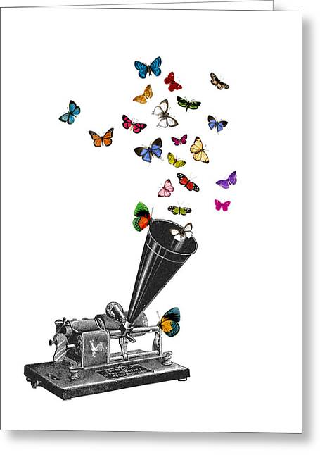 Phonograph And Butterflies Print Greeting Card
