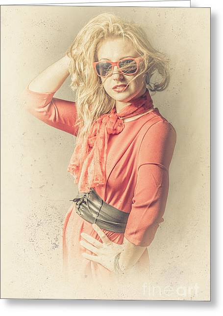 Photo Of Beautiful Girl In Vintage Fashion Style Greeting Card by Jorgo Photography - Wall Art Gallery