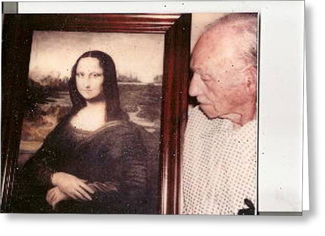 Photo Of Daddy Holding His Oil Painting Of Mona Lisa Greeting Card by Anne-Elizabeth Whiteway