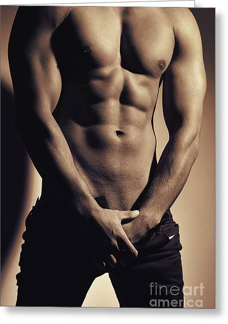 Photograph Of A Sexy Man #9979g Greeting Card