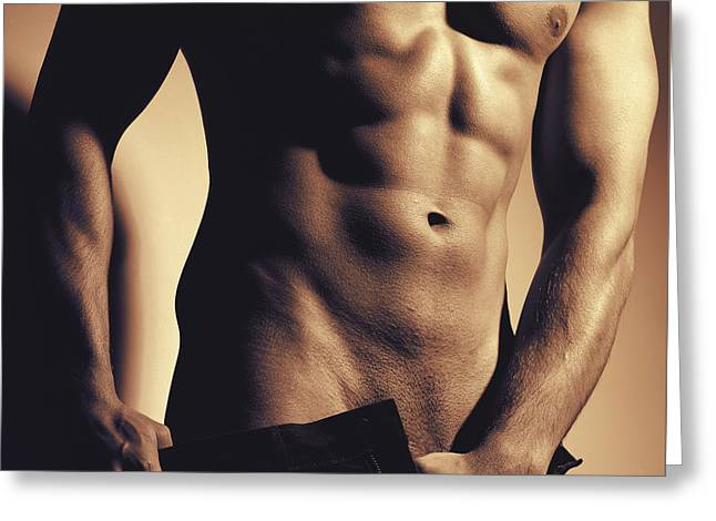 Photograph Of A Sexy Man #9981g Greeting Card