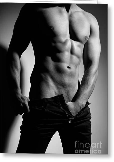 Photograph Of A Sexy Man In Black And White #9981g Greeting Card