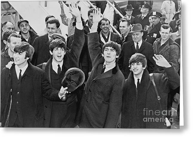 Photograph Of The Beatles Arriving In America Greeting Card by Pd