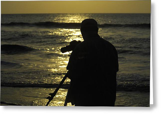 Photographer And Atlantic Ocean Sunrise Greeting Card by Darrell Young