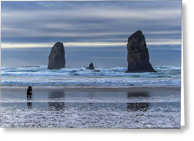 Photographer At Cannon Beach Greeting Card by David Gn