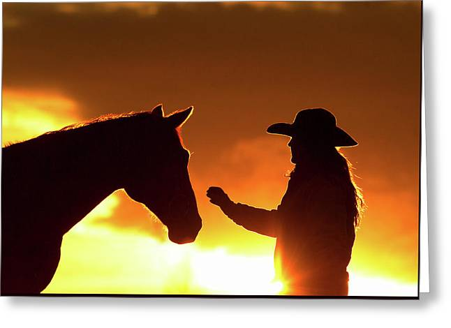 Cowgirl Sunset Sihouette Greeting Card