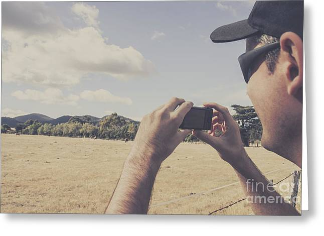Photographer Taking Photos Of Outback Landscapes Greeting Card