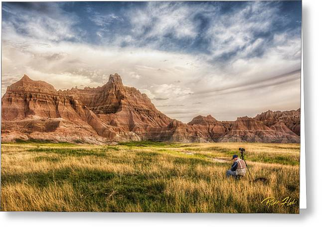 Photographer Waiting For The Badlands Light Greeting Card by Rikk Flohr