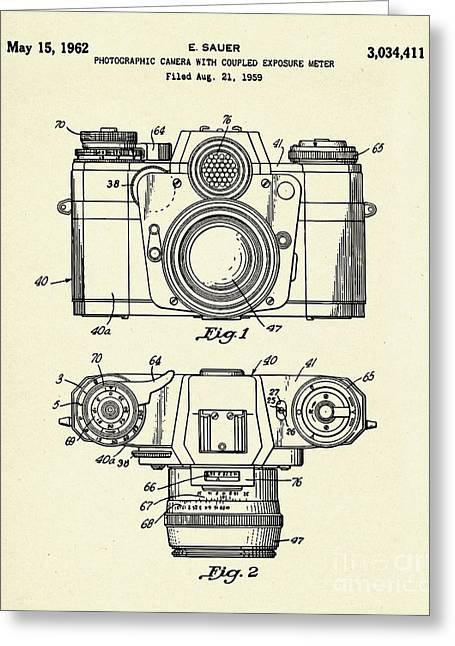 Photographic Camera With Coupled Exposure Mete-1962 Greeting Card by Pablo Romero