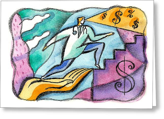 Greeting Card featuring the painting Physician And Money by Leon Zernitsky