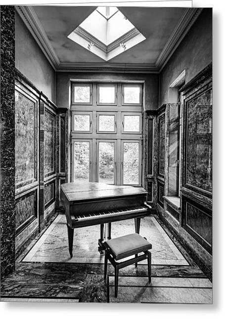 Piano Abandoned Castle Monochroom - Urban Exploration Greeting Card by Dirk Ercken