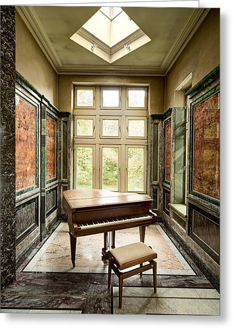 Piano Abandoned Castle - Urban Exploration Greeting Card by Dirk Ercken
